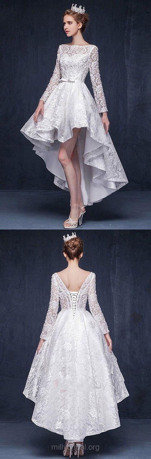 Lace Wedding Dresses A-line, High Low Wedding Dresses Long Sleeve, 2018 Bridal Gowns Scoop Neck, Cheap Wedding Dress Asymmetrical Beading