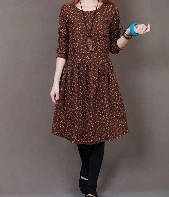 Coffee cotton dress long sleeve dress maxi by originalstyleshop, $59.90