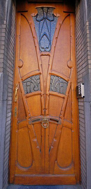 Art Nouveau door. Brussels, Belgium