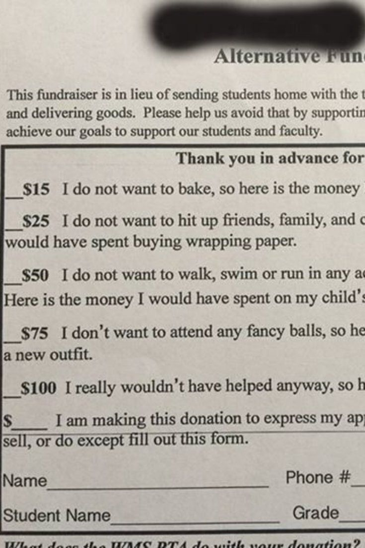 hilariously honest PTA form for those who don't reaaaally want to fundraise.
