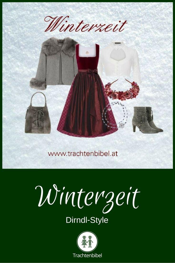 Der Dirndl-Style Winterzeit bezaubert mit einem bordeauxfarbenem Dirndl und grauen, eleganten Accessoires. Finden Sie hier Ihr perfektes Outfit!
