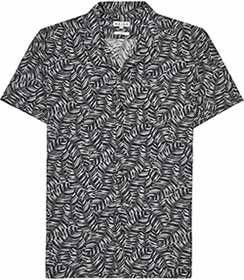 Mens Black Printed Cuban Collar Shirt - Reiss Shade