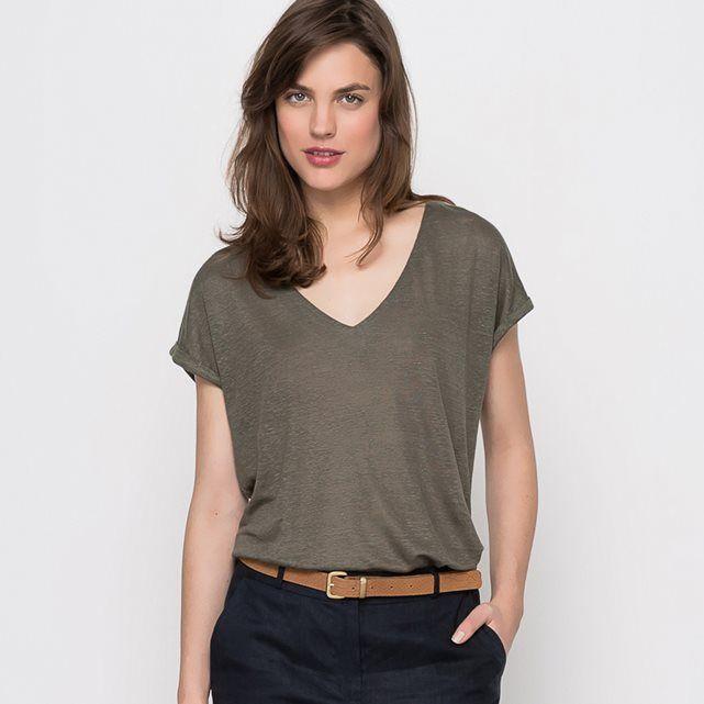 Image T-shirt em linho, decote em V - LAURA CLEMENT LAURA CLEMENT