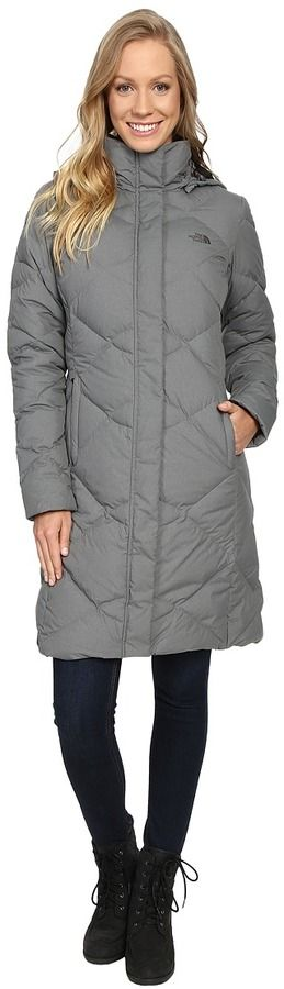 The North Face Miss Metro Parka. Enjoy full-coverage protection from wet winter weather. ; Polyester sueded finish fabric filled with high-loft 550-fill down for reliable thermal insulation. ; Variegated quilting throughout the body. ; Two-way front zip closure with hidden snap placket. ; Internal media pocket with cord guide. ; Zip hand pockets. ; Hood can be easily removed and stored when not in use. ; Metal logo rivet on the left upper sleeve. ; Embroidered logo at left chest and back…
