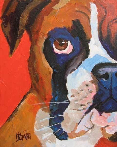 Boxer Dog Art Print of Original Acrylic Painting by dogartstudio