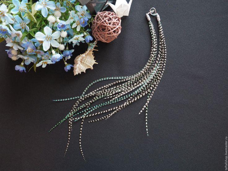 Серьги с перьями - Мята, полосатый, мятный, голубой - серьги с перьями, серьги с перьями нарядные