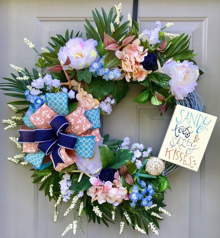 Sandy Toes and Salty Kisses Seashell Wreath, Beach Wreath, Starfish Wreath, Floral Grapevine Wreath