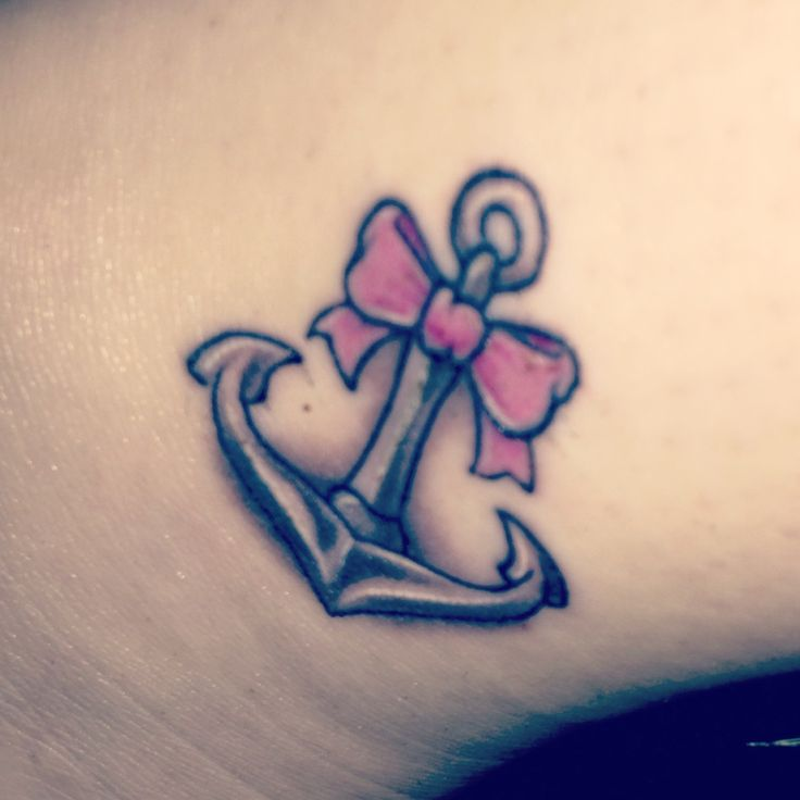 Cute anchor tattoo with a girly touch! #tattoo #pink #bow #girlytat #girltat #anchor #anchortat