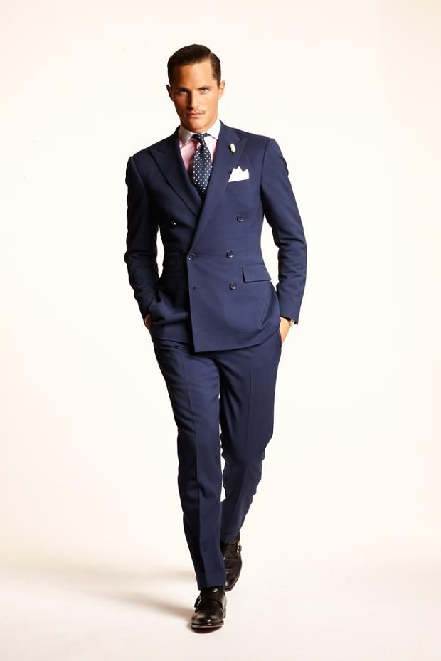 Navy DB suit with pink shirt and black double Monks Polo SS 2013