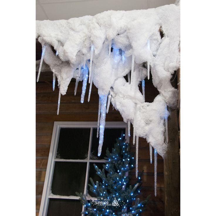 Сосульки акриловые, 3 шт, уличные, 27 холодных белых LED ламп, контроллер, IP44, Kaemingk | Интернет магазин «Зимняя Сказка»