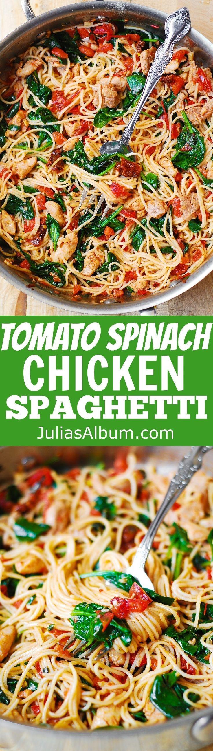Tomato Basil & Spinach Chicken Spaghetti – healthy, Mediterranean style dinner!