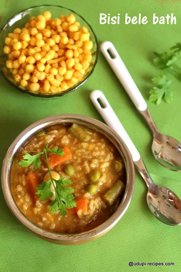 Loads of vegetables, lentils and spice mix make this wonderful bisi bele bath. Recipe with stepwise pictures.