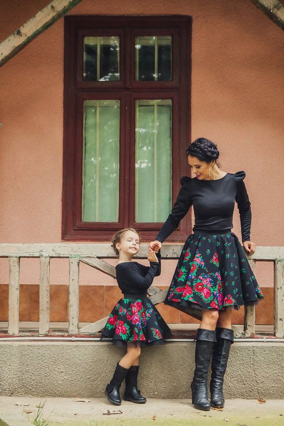 Etno Skirt Mother Daughter Matching Skirt Floral by HIRAetMIRA