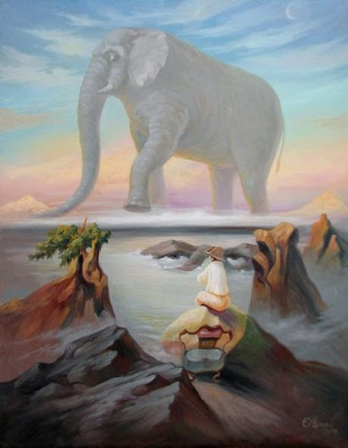 Secret face and elephant illusion