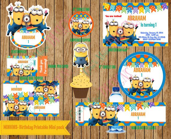 Minions - Personalized Birthday Party Package, DIY  Printable Digital File. on Etsy, $13.00