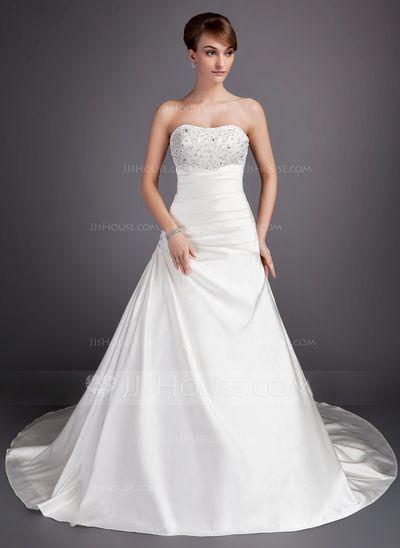 Ball-Gown Sweetheart Chapel Train Satin Wedding Dress With Ruffle Lace Beading…