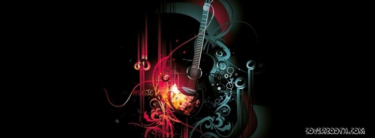This cover shows a music instrument facebook cover with guitar in ...