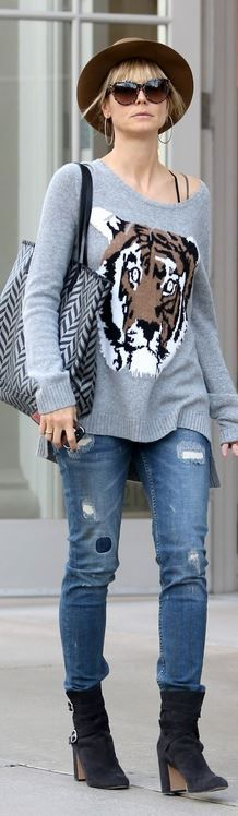 Who made  Heidi Klum's gray tiger print sweater that she wore in Santa Monica on December 22, 2013?