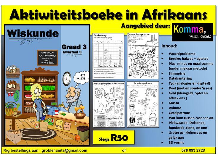 Rig bestellings aan: grobler.anita@gmail.com of 076 093 2728  Besoek gerus ook ons Facebookblad: https://www.facebook.com/KOMMA-leer-en-leessentrum-740032272797570/