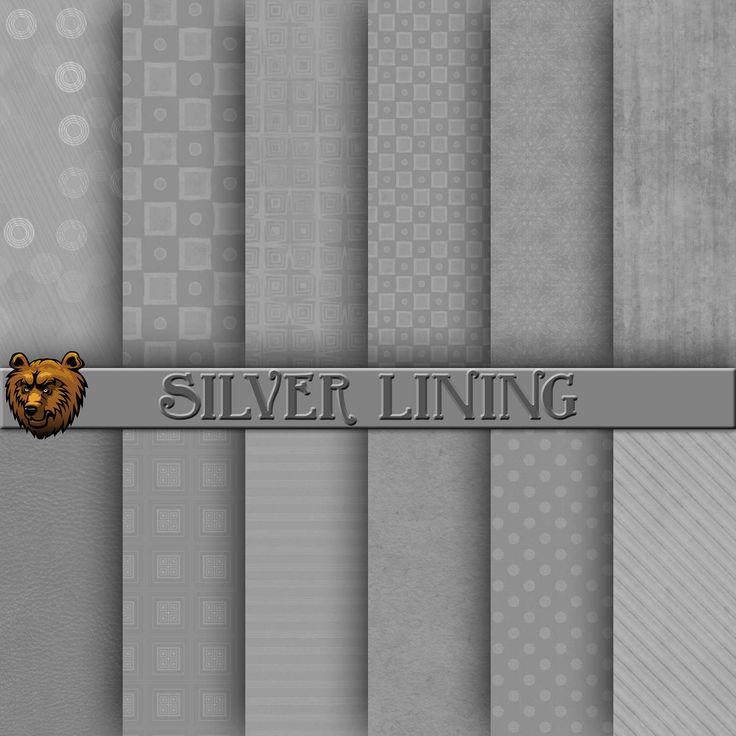 silver digital paper, silver scrapbook paper, silver, background by BearsDenDigitalArts on Etsy