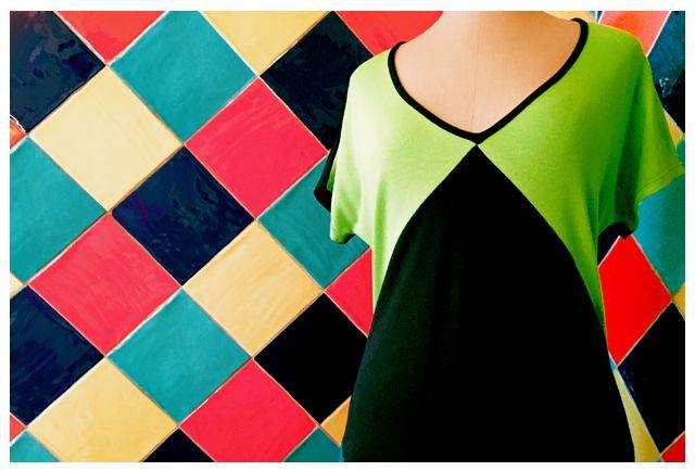 Vestido verde y negro de formas geométricas #verano2016 #ShopOnLine #design