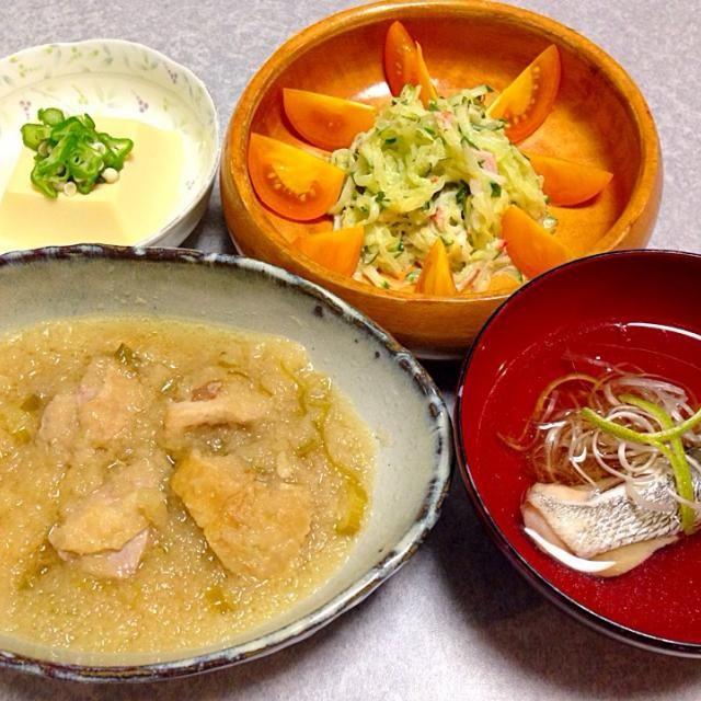 鶏のおろし煮、 黒鯛のお吸い物、 卵豆腐、 そうめん瓜とキュウリと大葉とトマトのサラダ です。 - 21件のもぐもぐ - 娘の好きな 鶏のおろし煮 他 by Orie Ueki