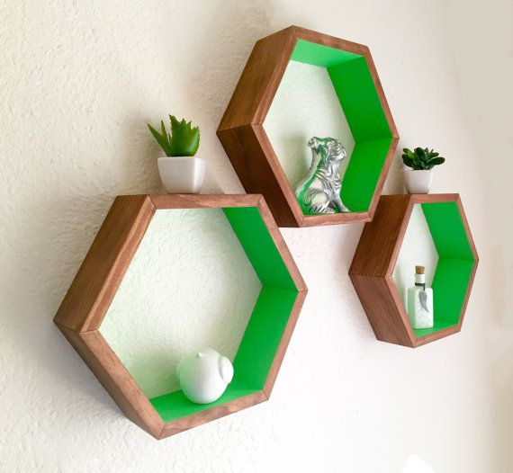 Set of 3 Honeycomb Shelves, 2 Tone Shelves, Hexagon Shelves, Painted Shelves, Geometric Shelf, Nursery Decor, Display Shelf, Wall Shelf