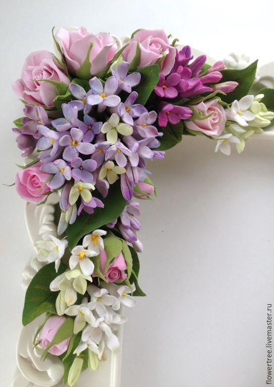 Купить Фоторамка с сиренью из полимерной глины - цветы ручной работы, подарок на день рождения