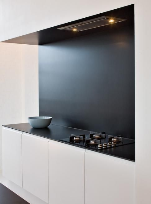 minimal Black and white kitchen