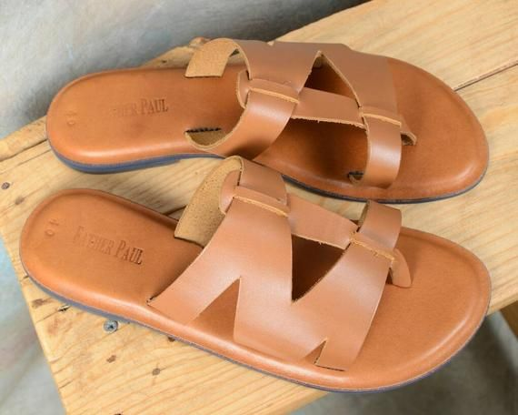 Brown Unisex Handmade Summer Slippers   Originally designed by M.Gemi   Birthday, Fathers' Day, Mothers' Day, Anniversary, Valentines Gift