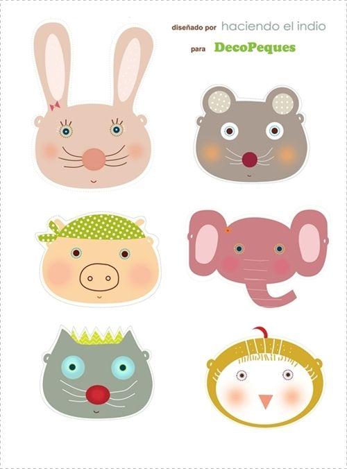 Kids wall art, prints and murals-Cuadros infantiles, láminas y tarjetas para fiestas — Caretas para imprimir GRATIS - FREE printable masks