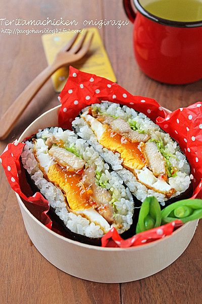 Onigirazu with chicken, egg, rice, and nori