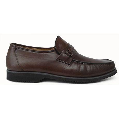 Zapato mocasín con detalle en color marrón de Massimo Emporio vista lateral