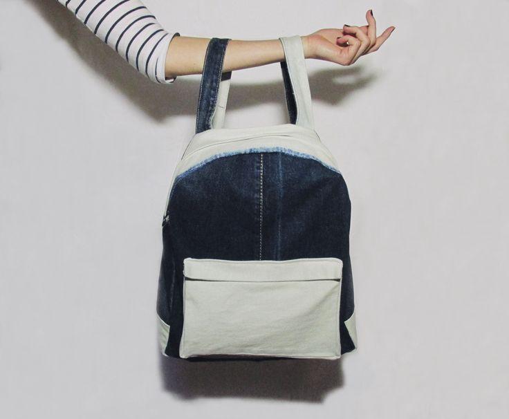 Old jeans turned into  backpack #DIY #selfmade #denim #backpack