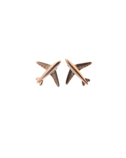 Rose Gold Airplane Earrings