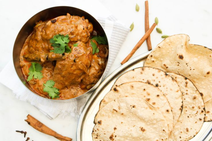 Classic Indian chicken curry. Chicken rogan josh and homemade chapatis is truly delicious and will make your dinner special.