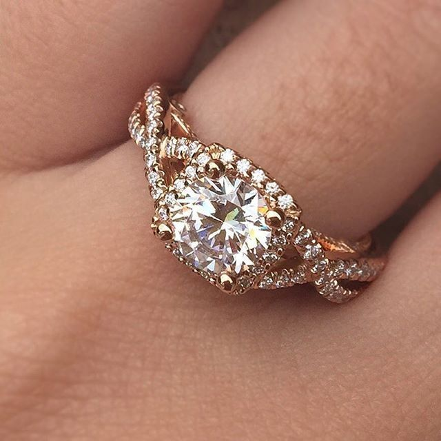 this rose gold halo engagement ring by verragio is perfection engagement ring style quiz - Engagement Ring And Wedding Ring