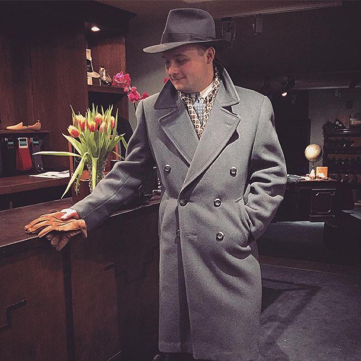 Hr. Johansson looking good in his A. Marchesan MTM shirt, late 40's/early 50's Swedish bluegrey overcoat and Akubra fedora hat.  #vintage #mensvintage #menswear #fedora #amarchesanshirts #akubra #dapper #welldressed #mensstyle #mensfashion #mensvintage