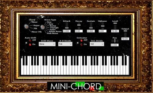 Mini-Chord free - This digital chord organ plays a four-note chord for each note hit. Select the wave type to get familiar electric organ tones and use the tempo-synced effects to add rhythm and movement to create entirely unique sounds http://www.vstplanet.com/News/2017/free-vst-instruments-and-effects-by-ivy-sirena.htm