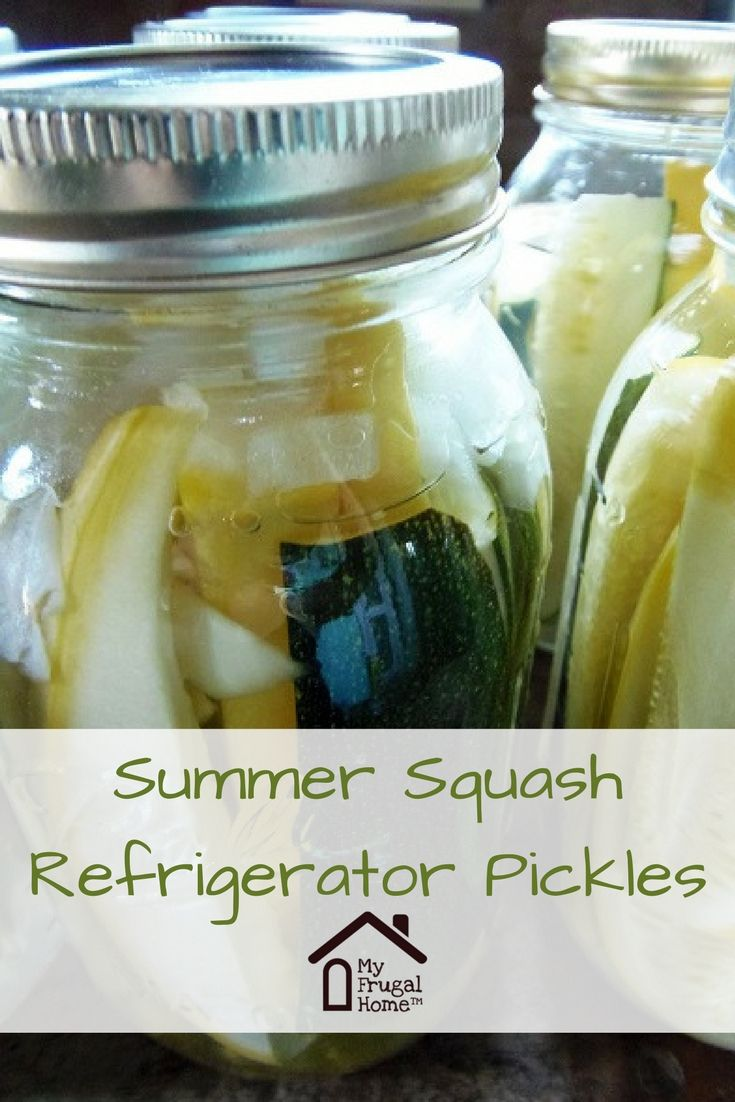 Summer Squash Refrigerator Pickle Recipe - great use for your excess zucchini and yellow squash