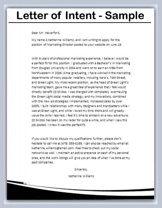 Letter Of Intent Example Check more at   bravebtr/pharmacy - sample resignation letter format example