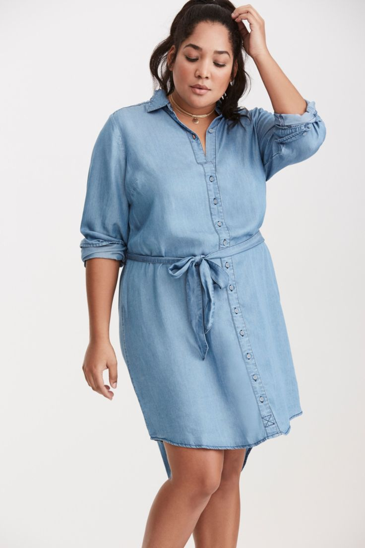 Plus Size CasualChambray Button Front Shirt Dress (plus size) #plussizedress #plussizefashion