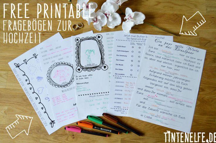 Hochzeitskram - Free Printable Fragebögen als Gästebuch