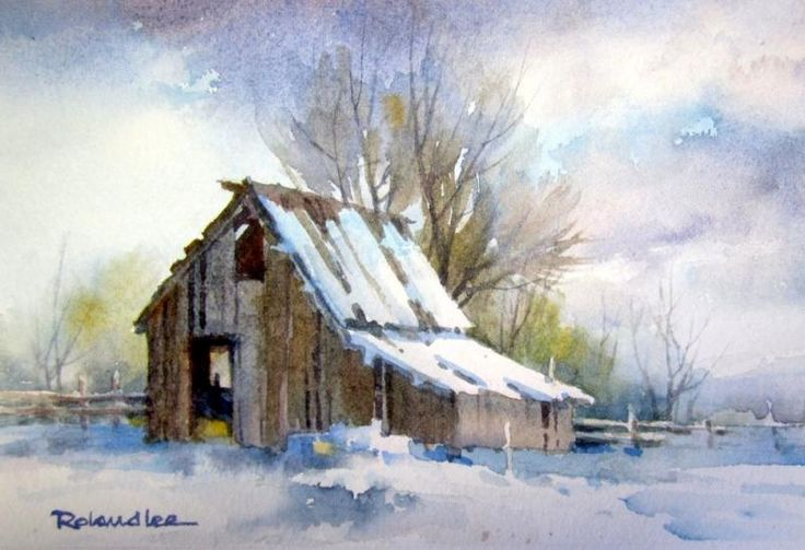 Utah Barn in the Snow , Original watercolor painting of a Utah barn during a winter snowfall - Watercolor Paintings by Roland Lee