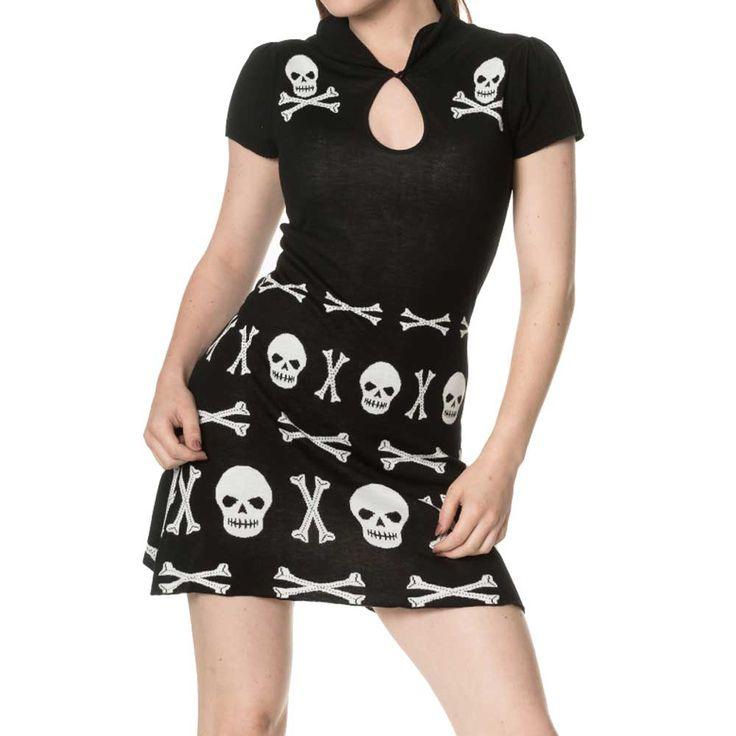Banned The After Life Skull korte jurk met schedel en botten patroon z