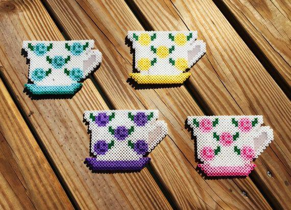 Tea cup coaster, Perler bead, Tea cup coasters, Coasters, Coaster, Tea, Housewarming gift, Tea coasters, Perler beads by AmeliasWreathsofJoy