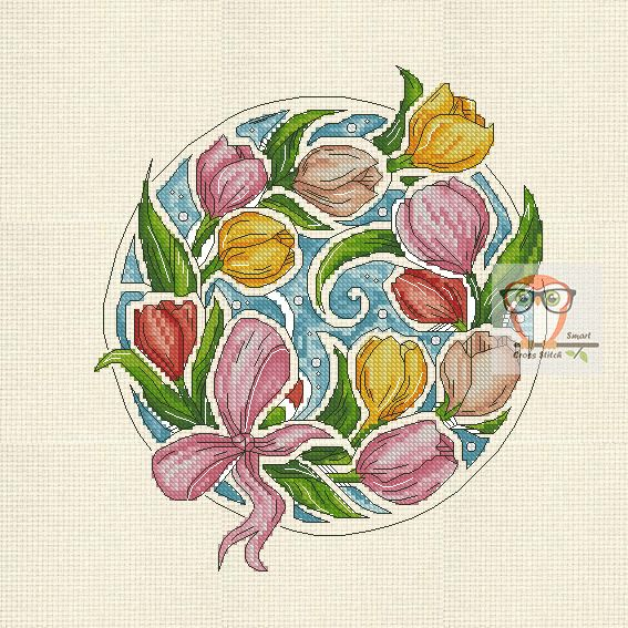 Tulip Botanica If you are looking for a unique floral project then try your stitchy hand at our botanica series. Fairy cross stitch flower patterns will make you happy. A new embroidery project is a tulip cross stitch. #tulips #floral #crossstitch #bright #yellow #pink #crossstitching #crossstitchpattern #pdf #download #round #contemporaryart #contemporarydesign #embroidery #SmartCrossStitch