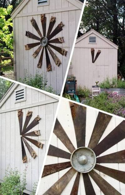 Garden Shed - vintage saws are repurposed and used on a shed.