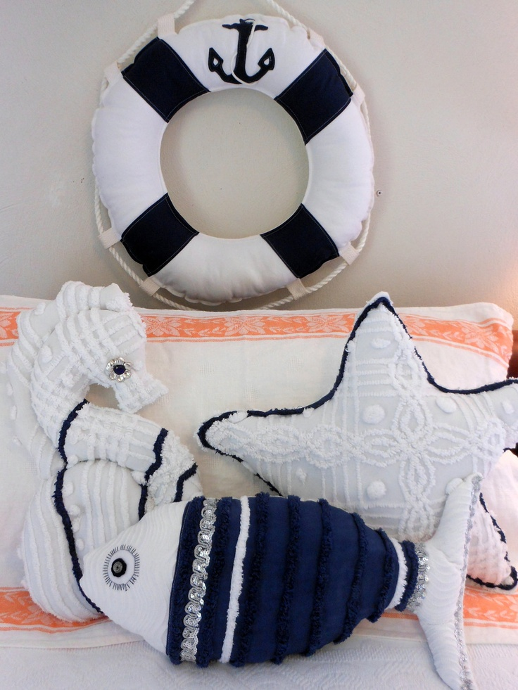 Chenille Seahorse Navy and White Pillow Under the Sea for Coastal Living by searchnrescue2. $55.00, via Etsy.