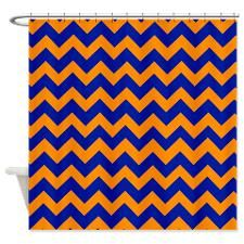 CHEVRON BLUE ORANGE Shower Curtain
